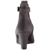 brun kunstlær 7,5 cm KIMBERLY-102 store størrelser ankelstøvletter dame