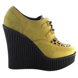 brun kunstlær CREEPER-304 wedge creepers sko med kilehæler