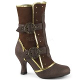 brun microfiber 7,5 cm MATEY-205 retro ankel høye støvler