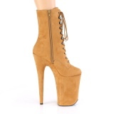 brun vegan 23 cm INFINITY-1020FS ekstremt ankelstøvletter høye hæler - platå støvletter