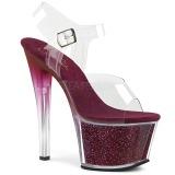 burgunder 18 cm SKY-308G-T glitter platå sandaler dame