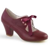 burgunder 6,5 cm WIGGLE-32 pinup pumps sko med blokkhæl