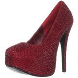 burgunder strass 14,5 cm Burlesque TEEZE-06R høye platform pumps sko
