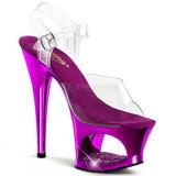 fiolett gjennomsiktig 18 cm MOON-708DMCH platå høye hæler sko