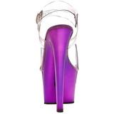 fiolett gjennomsiktig 18 cm SKY-308 platå høye hæler sko