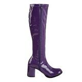 fiolett lakkert 8,5 cm GOGO-300 høye damestøvler til menn