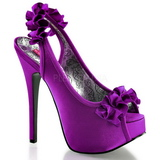fiolett satin 14,5 cm Burlesque TEEZE-56 platå høyhælte sandaler sko