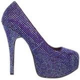 fiolett strass 14,5 cm Burlesque TEEZE-06R høye platform pumps sko