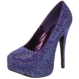 fiolett strass 14,5 cm TEEZE-06R høye platform pumps sko