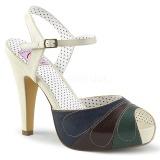flerfarget 11,5 cm retro vintage BETTIE-27 pinup sandaler med skjult platå