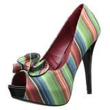 flerfarget 13 cm LOLITA-12 dame pumps sko med åpen tå