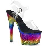 flerfarget 18 cm ADORE-708MRB platå høye hæler sko