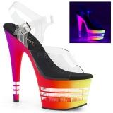 flerfarget 18 cm ADORE-708UVLN høyhælte sandaler neon platå