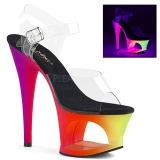 flerfarget 18 cm MOON-708UV høyhælte sandaler neon platå