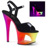 flerfarget 18 cm MOON-709UV høyhælte sandaler neon platå