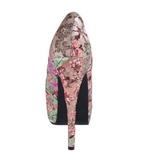 floral mønster 14,5 cm Burlesque TEEZE-06-6 platå pumps peep toe