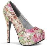 floral mønster 14,5 cm TEEZE-06-6 platå pumps peep toe