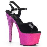 fuchsia 18 cm ADORE-709OMBRE glitter platå sandaler dame
