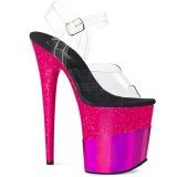 fuchsia 20 cm FLAMINGO-808-2HGM glitter platå sandaler dame