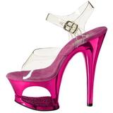 fuchsia gjennomsiktig 18 cm MOON-708DMCH platå høye hæler sko