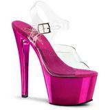 fuchsia gjennomsiktig 18 cm SKY-308 platå høye hæler sko