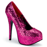 fuchsia glitter 14,5 cm Burlesque BORDELLO TEEZE-06G platå pumps høy hæl