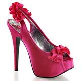 fuchsia satin 14,5 cm Burlesque TEEZE-56 platå høyhælte sandaler sko