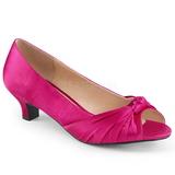 fuchsia satin 5 cm FAB-422 store størrelser pumps sko