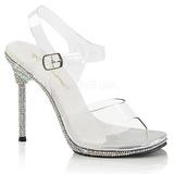 gjennomsiktig 11,5 cm CHIC-08DM fest sandaler med strass steiner