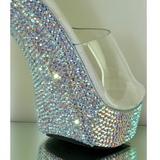gjennomsiktig 13 cm COCKTAIL-501DM høyhælte damer sko strass stein
