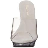 gjennomsiktig 13 cm Fabulicious LIP-101 glitter høye hæler mules
