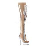 gjennomsiktig 15 cm DELIGHT-3026 lårhøye støvler med snøring