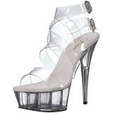 gjennomsiktig 15 cm DELIGHT-635 dame sandaler med hæl
