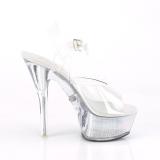 gjennomsiktig 15 cm FLASH-208CH pole dance høye hæler sko med led lys platå