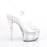 gjennomsiktig 15 cm FLASH-608CH pole dance høye hæler sko med led lys platå