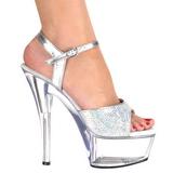 gjennomsiktig 15 cm KISS-210 glitter platå høye hæler sko