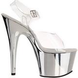 gjennomsiktig 18 cm ADORE-708 krom platå høye hæler sko
