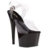 gjennomsiktig 18 cm ADORE-708 svart platå høye hæler sko