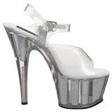 gjennomsiktig 18 cm ADORE-708G glitter platå høye hæler sko