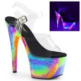 gjennomsiktig 18 cm ADORE-708GXY neon platå høye hæler dame
