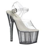 gjennomsiktig 18 cm ADORE-708MG glitter platå høye hæler dame