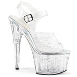 gjennomsiktig 18 cm ADORE-708MMG glitter platå høye hæler dame