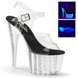 gjennomsiktig 18 cm ADORE-708VLRS high heels platå med strassteiner