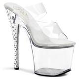 gjennomsiktig 18 cm DIAMOND-702 høyhælte slipper damer sko strass stein