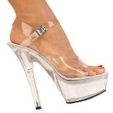 gjennomsiktig 18 cm Pleaser KISS-208 platform høyhælte sko