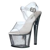 gjennomsiktig 18 cm Pleaser SKY-308MG glitter sko med høye hæler