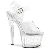 gjennomsiktig 18 cm Pleaser SKY-308MMG glitter sko med høye hæler