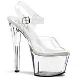 gjennomsiktig 18 cm SKY-308 platå høye hæler sko