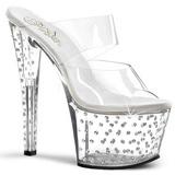gjennomsiktig 18 cm STARDUST-702 høyhælte slipper damer sko strass stein