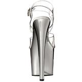 gjennomsiktig 19 cm TABOO-708 krom plattform hæl sko
